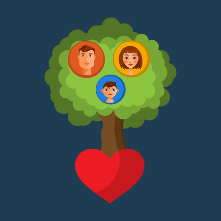 The Family or genealogical tree with cartoon avatars. Vector illustration. For web design and apps Vector
