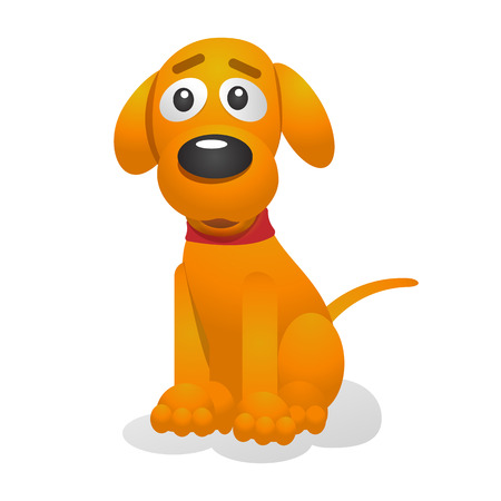 Cute puppy cartoon vector illustration. Yellow pup wearing a red collar sits. Isolated on white background. For web design and apps