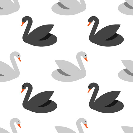 Vector seamless pattern with grey swans on white background. Element of design. For web and apps