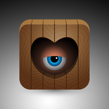 Cartoon blue eye looking through heart shaped peephole in the wooden door.  Ilustração