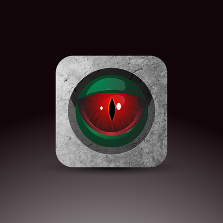 red eye: Dragon eye - original realistic vector illustration. Red eye looking through rock. Vector icon. Element of UI design. For web and apps