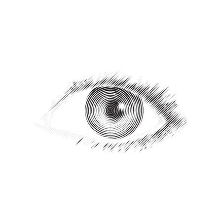 Vector illustration of human eye in vintage engraved style. Isolatedon white background. Element of design