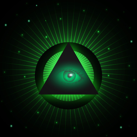 new world order: Eye of Providence and pyramid. All seeing eye symbol. Masonic eye in a pyramid. Vector illustration. Design element for music albums, posters, flyers, web design and mobile apps.