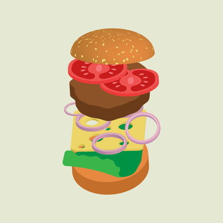 Hamburger or cheeseburger vector illustration with meat, lettuce, onion, cheese and tomato. For web and apps. Illustration of fast food or junk food. Ilustração