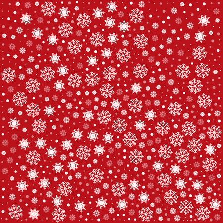 Vector seamless pattern with snowflakes and stars. Red background. Vector illustration Festive Christmas and New Year seamless snowflakes pattern. Winter pattern. Snowfall