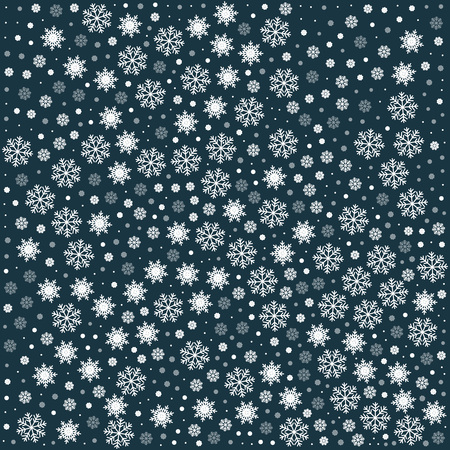 Vector seamless pattern with snowflakes. Dark cyan background. Vector illustration Festive Christmas and New Year seamless snowflakes pattern. Winter pattern. Snowfall