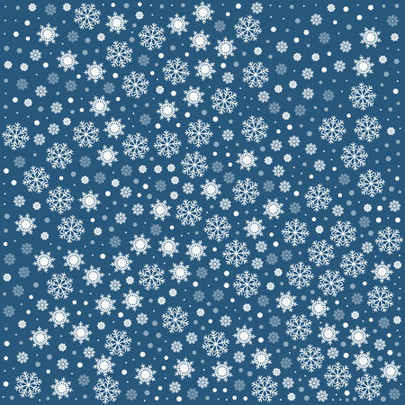 Vector seamless pattern with snowflakes. Dark blue or navy background. Vector illustration Festive Christmas and New Year seamless snowflakes pattern. Winter pattern