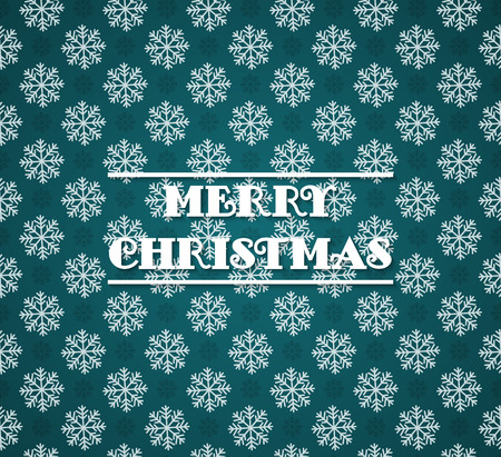 Vector seamless pattern with snowflakes on cyan background. Dark green and white christmas seamless texture. For web and print design. Winter and christmas theme. Vector illustration