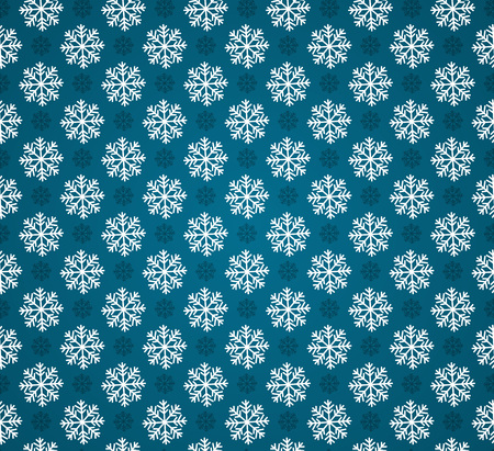 Vector seamless pattern with snowflakes or blue background. Blue and white christmas seamless texture. For web and print design. Winter and christmas theme Ilustração