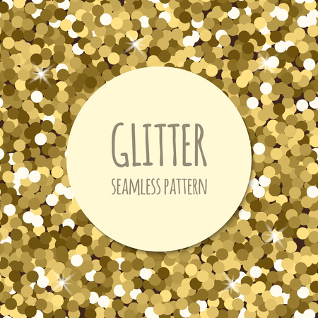 Golden glitter christmas seamless pattern. Abstract sparkle glittering gold background. Vector shiny texture. For web and print design.
