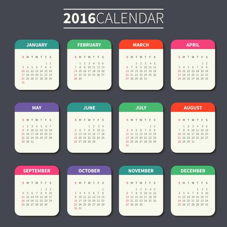 vertical orientation: Calendar for 2016 on Dark Background. Week Starts Sunday. Simple Vector Template. For web and print design. Vector illustration. Vertical orientation. Flat design color