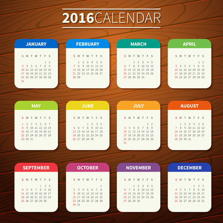Calendar for 2016 on Wooden Background. Week Starts Sunday. Simple Vector Template. For web and print design. Vector illustration. Vertical orientation. Flat design color on wood texture
