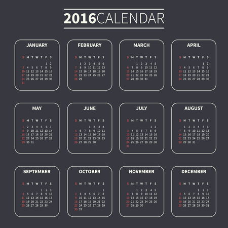 Calendar for 2016 on Dark Background. Week Starts Sunday. Simple Vector Template. For web and print design. Vector illustration. Vertical orientation. Monochrome color