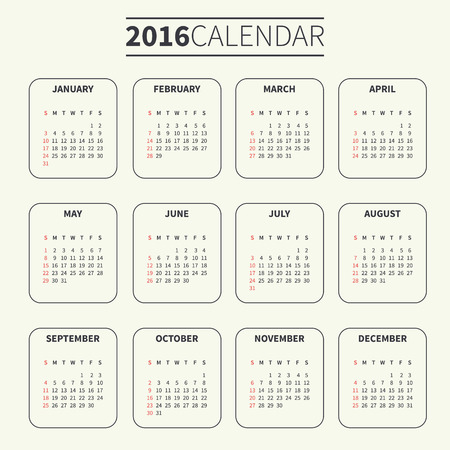 Calendar for 2016 on Pale or Light Background. Week Starts Sunday. Simple Vector Template. For web and print design. Vector illustration. Vertical orientation. Monochrome color