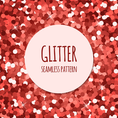 Red glitter christmas seamless pattern. Abstract sparkle glittering background. Vector shiny texture. For web and print design.