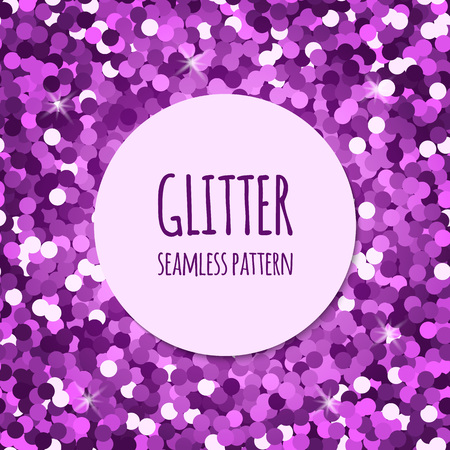 Violet glitter christmas seamless pattern. Abstract sparkle glittering  background. Vector shiny texture. For web and print design.