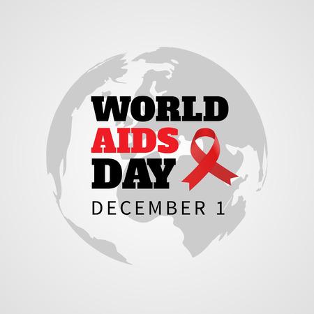 relaciones sexuales: Ilustración del vector cinta roja de la conciencia del SIDA en el globo. Fondo con el planeta Tierra y la cinta roja. Concepto del Día Mundial del Sida. 01 de diciembre Día Mundial del Sida