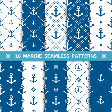 Set of vector seamless patterns with anchor and helm or steering wheel. Sea or marine and nautical backgrounds in navy blue and white colors. Vector illustration. Design element for wallpapers, web, shower, invitation, greeting card, fabric.