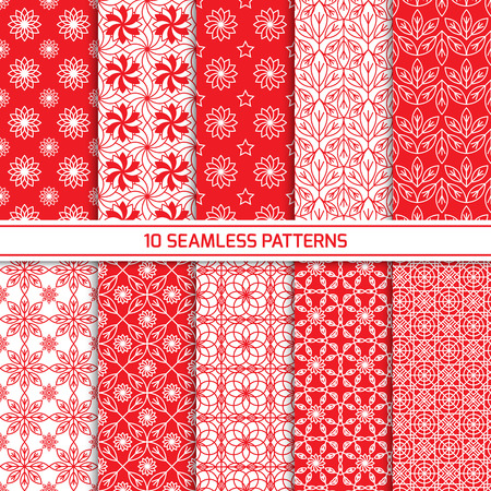Set of seamless oriental geometric patterns in red and white color. Endless texture for wallpaper, web design background, fabric. Monochrome geometric ornament. Vector illustration Banco de Imagens - 48781725