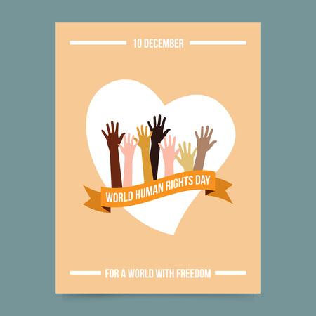 corazon humano: Ilustraci�n vectorial y plantilla de la tarjeta - d�a de los derechos humanos del mundo. Manos sobre la cinta y el coraz�n. La libertad y el s�mbolo del activismo. Cartel para el Festival Internacional.