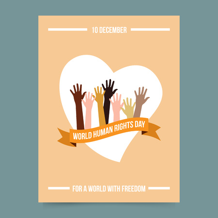 human: Vector illustration and card template - world human rights day. Hands over ribbon and heart. Freedom and activism symbol. Poster for International Festival.