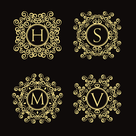 Set of elegant luxury vector monogram. Classic ornamental style. Frame, border, label for your logo badge or crest. For restaurant, hotel, cafe, heraldic, jewelry, wine. Corporate identity