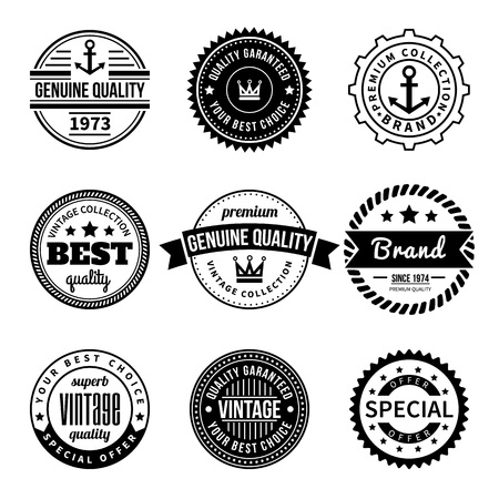 Set of Vintage Vector Labels and Badges. Hipster style with anchor, crown, star, rope, ribbon. Design element, business sign, logo, identity, insignia. Vector illustration. Ilustração