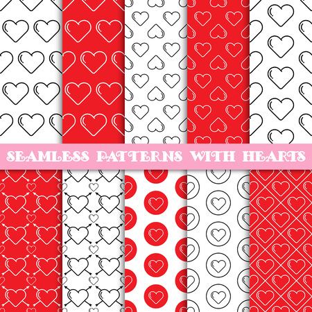 Set of seamless vector patterns with hearts. Red color. Valentines day background. Tiling texture for printing on textile, paper, can be used for web design as wallpaper. Wedding theme Banco de Imagens - 48785405