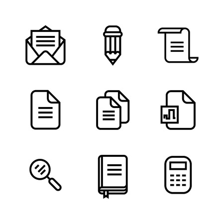 Office and business supplies icon set. Vector illustration. Line icons on white background. Element of web design. Ideal for mobile apps.