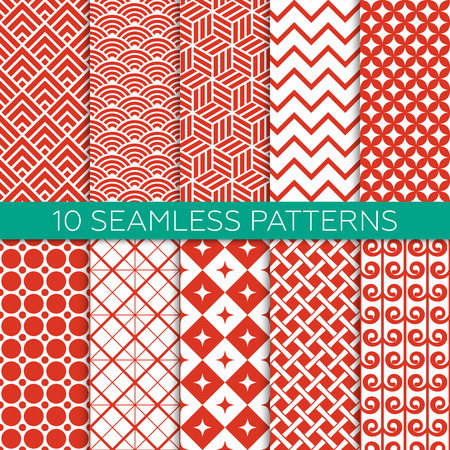 Set of red and white color geometric patterns. Monochrome design for fabric, wallpaper, web page background, scrap booking. Abstract ornament. Endless texture. Vector illustration. Swatches of seamless patterns included. Ilustração