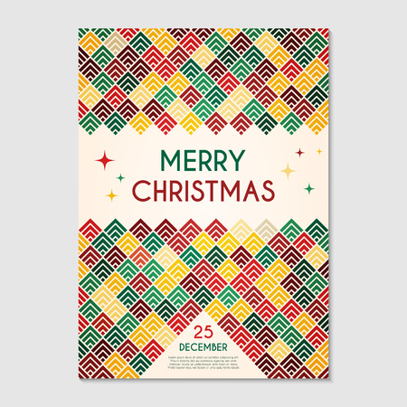 Merry Christmas party poster ornamental template. Greeting card, banner, flyer or invitation design. Abstract geometric modern background. Vector illustration.