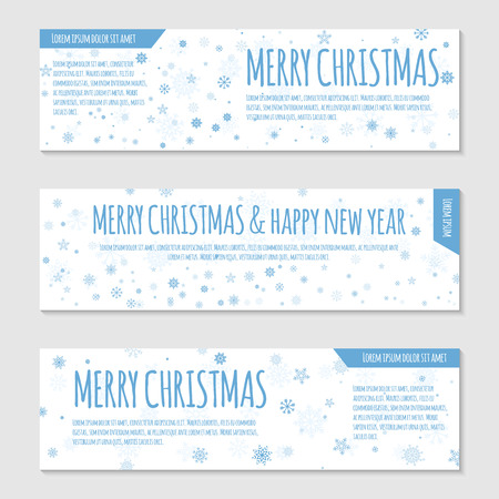 Vector banner or flayer template. Blue snowflakes on white background. Can be used for web design, certificate, gift card, voucher, store, present, shopping, flyer, greeting