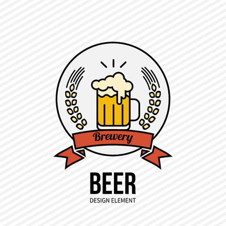 Glass of golden beer icon on white background. Design element for web and mobile design, bar, cafe, restaurant. Modern minimalistic outline style label. Vector illustration