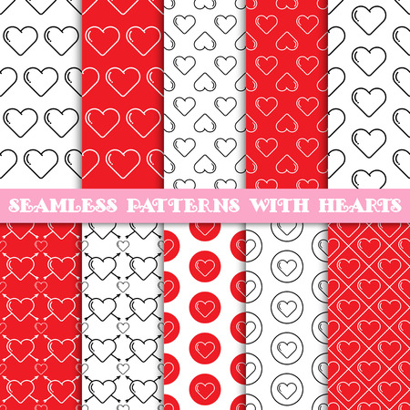 Set of seamless vector patterns with hearts. Red color. Valentines day background. Tiling texture for printing on textile, paper, can be used for web design as wallpaper. Wedding theme