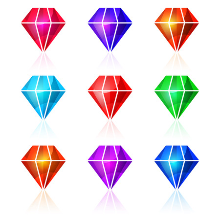 Shiny colorful diamonds vector illustration. Icons isolated on white background. Colorful precious stone logotype, icons set. Jewels and gems with reflection effect. For web and mobile design