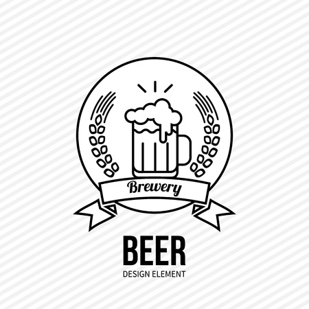 Glass of beer icon on white background. Black and white vector illustration. Design element for web and mobile design, bar, cafe, restaurant. Modern minimalistic monochrome outline style label. Ilustração