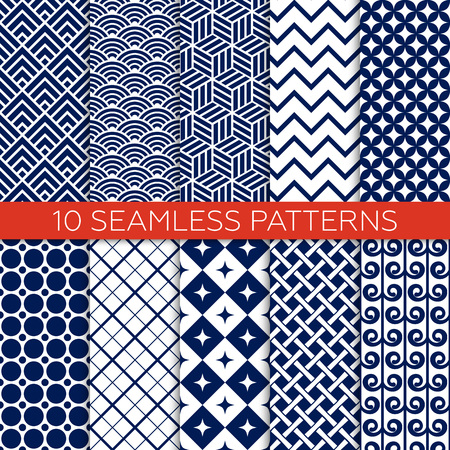 Set of navy color geometric patterns. Monochrome design for fabric, wallpaper, web page background, scrap booking. Abstract ornament. Endless texture. Vector illustration. Swatches of seamless patterns included. Ilustração