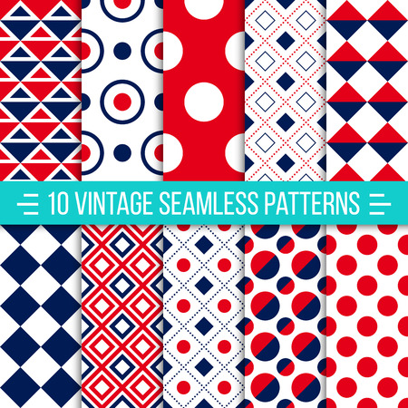 Set of 10 vintage vector seamless patterns. Retro geometric ornaments can be used for wallpaper, pattern fills, web page background. Red and dark blue color. Ideal for printing onto fabric and paper or scrap booking Ilustração