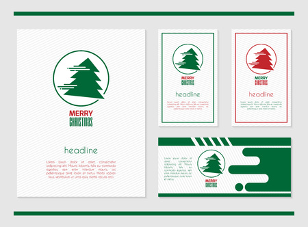 Vector Christmas minimalistic template setpostcard. Happy holidays. Vector illustration for your design