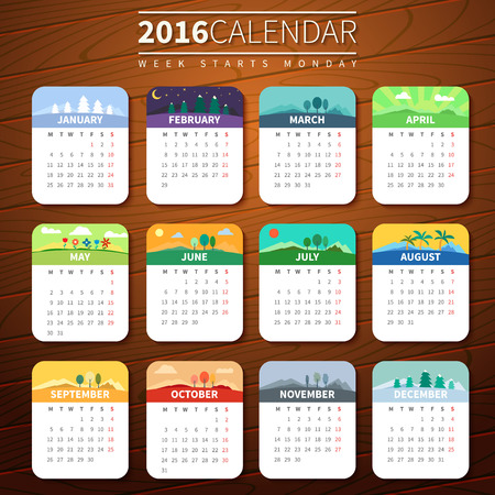 Calendar for 2016 on Wooden Background. Week Starts Monday. Vector Template with seasons. For web and print design. Vector illustration. Vertical orientation. Every month has own illustration or icon