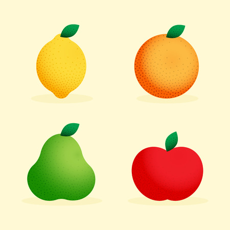 Vector colorful illustration of lemon, orange, green pear, red apple. Set of fruits. Icons for cooking, restaurant menu and vegetarian or eco food. Healthy lifestyle illustration.