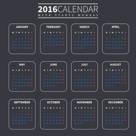 Calendar for 2016 on Dark Background. Week Starts Monday. Simple Vector Template. For web and print design. Vector illustration. Vertical orientation. Red, blue and beige color