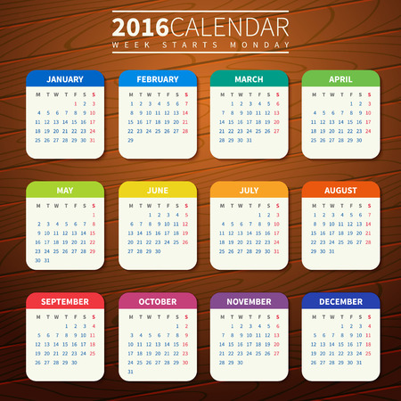 Calendar for 2016 on Wooden Background. Week Starts Monday. Simple Vector Template. For web and print design. Vector illustration. Vertical orientation. Flat design color on wood texture