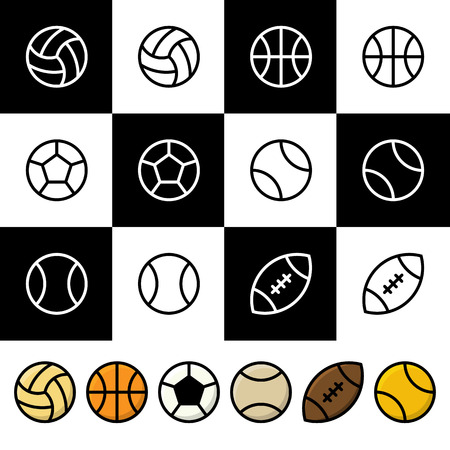 Vector Set of Black and White and Colorful Sports Balls (Baseball, Soccer, Basketball, Tennis, Volleyball, Rugby or American Football) . Vector illustration for web design and mobile applications