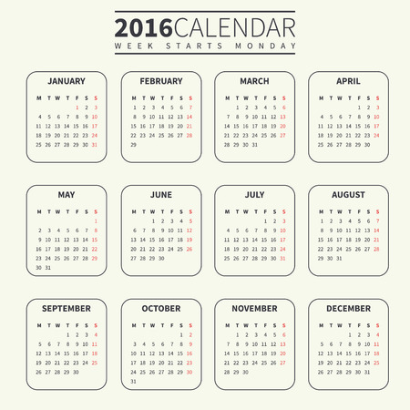 Calendar for 2016 on Pale or Light Background. Week Starts Monday. Simple Vector Template. For web and print design. Vector illustration. Vertical orientation. Monochrome color Ilustração