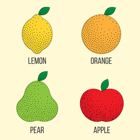 Vector stipple style illustration with lemon, orange, green pear, red apple. Set of fruits. Icons for cooking, restaurant menu and vegetarian or eco food. Healthy lifestyle illustration Ilustração