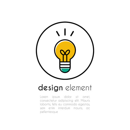 Light lamp or bulb sign vector icon. Innovation idea symbol. Effective thinking concept. Isolated on white background. For web design and mobile applications. Outline design style.