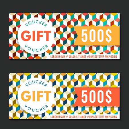 Voucher vector template with geometric pattern vintage style. For certificate, coupon, discount or gift card, banner, invitation, ticket, shopping card, customer sale and promotion, web design banner.