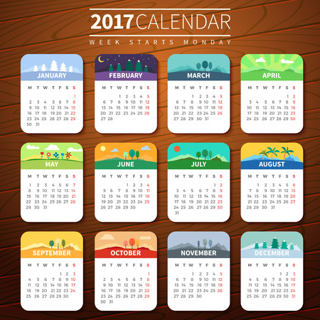 Calendar for 2017 on Wooden Background. Week Starts Monday. Vector Template with seasons. For web and print design. Vector illustration. Vertical orientation. Every month has own illustration or icon Stock Vector - 66774915