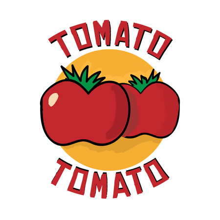Vector cartoon illustration with red organic farm fresh tomato. Simple design element. Logo icon template in flat outline style. Vegetable isolated on white background. Vegetarian healthy nutrition. Cook ingredient.  Concept for organic products, harvest, Banco de Imagens - 66774898